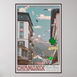 Village of Chamonix (white) Poster