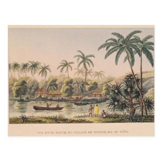 Village of Matavae, Tahiti Postcard