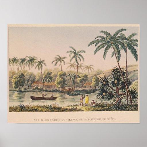 Village of Matavae, Tahiti Poster
