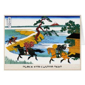 Village of Sekiya at Sumida river Katsushika Hokus Card