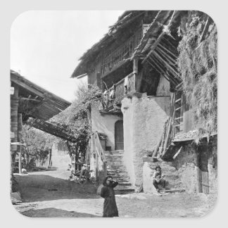 Village of Valais, early 20th century Square Sticker