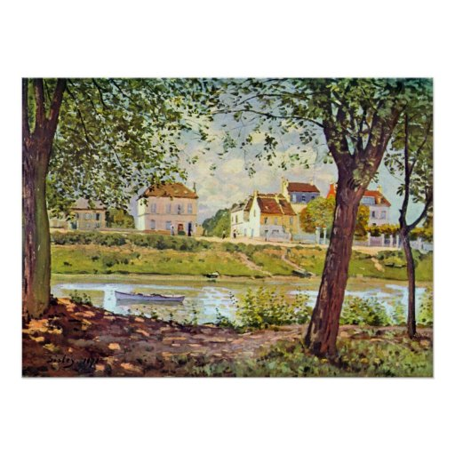 Village on the banks of the Seine by Alfred Sisley Posters