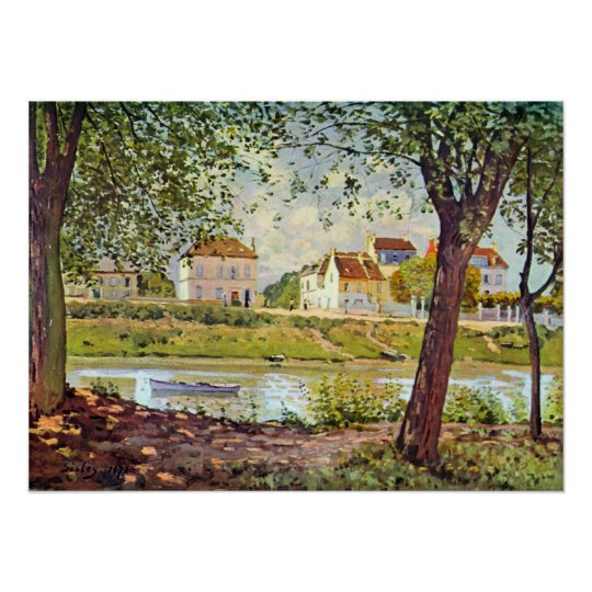 Village on the banks of the Seine by Alfred Sisley Poster