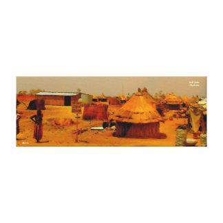 Village Scene in South Sudan Stretched Canvas Print