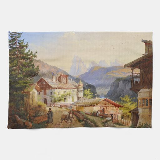 Village scene of St Peter Josef Arnold the Younger Hand Towels