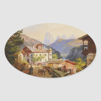 Village scene of St Peter Josef Arnold the Younger Oval Sticker