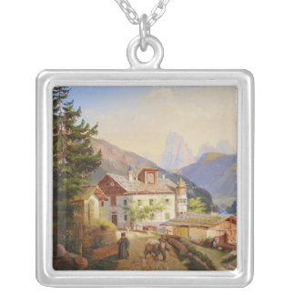 Village scene of St Peter Josef Arnold the Younger Square Pendant Necklace