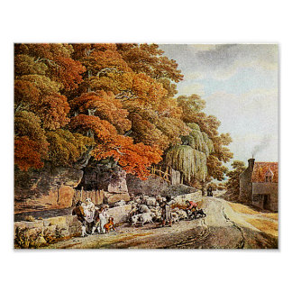 Village Scene Watercolor Painting Fine Art Print! Poster
