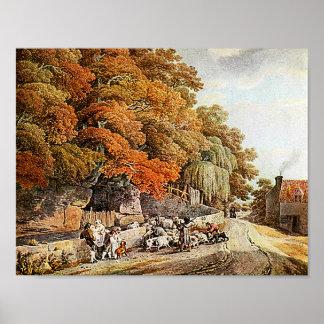 Village Scene Watercolor Painting Fine Art Print! Poster