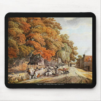 Village Scene Watercolor Painting PC Mac Mousepad! Mouse Pad