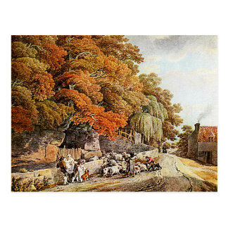 Village Scene Watercolor Painting Postcard! Postcard