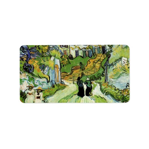 Village Street and Steps in Auvers by van Gogh Address Label