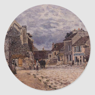 Village Street Grey Weather by Alfred Sisley Classic Round Sticker