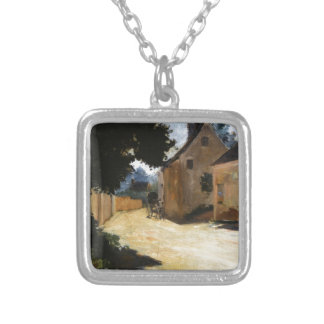 Village Street, Louveciennes Pierre-Auguste Renoir Silver Plated Necklace