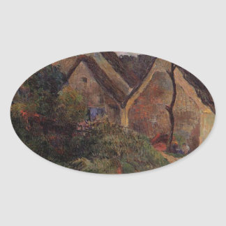 Village street, Osny by Paul Gauguin Oval Sticker