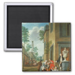 Villagers Merrymaking 2 Inch Square Magnet