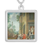 Villagers Merrymaking Square Pendant Necklace