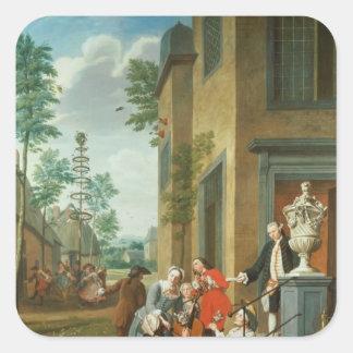 Villagers Merrymaking Square Sticker