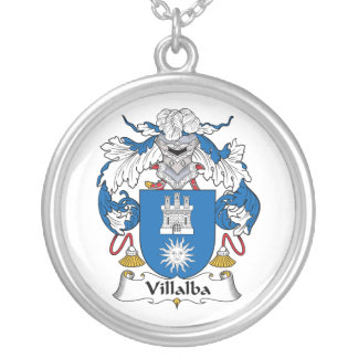 Villalba Family Crest Silver Plated Necklace