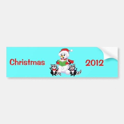 Villancico de los mapaches y del navidad del muñec pegatina de parachoque