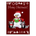 Villancico de los mapaches y del navidad del muñec tarjeton