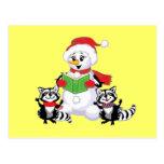 Villancico de los mapaches y del navidad del muñec tarjetas postales