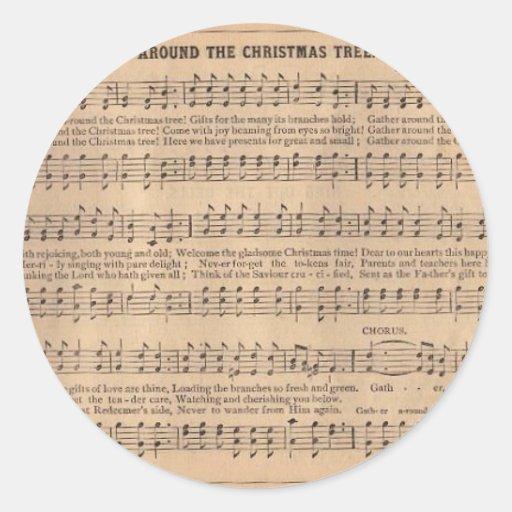 Villancico del navidad: Alrededor del árbol de Pegatina Redonda