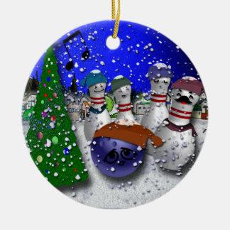 Villancico del navidad de los bolos adorno redondo de cerámica