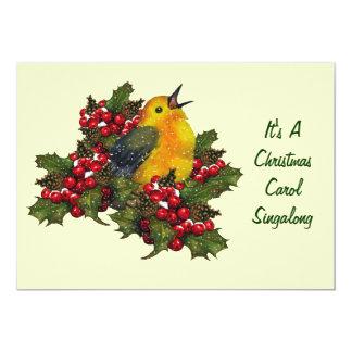 Villancico Singalong del navidad: Pájaro, acebo, Invitación 12,7 X 17,8 Cm