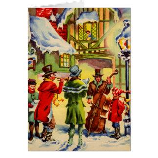 Villancicos del navidad del canto en una tarde Nev Felicitación