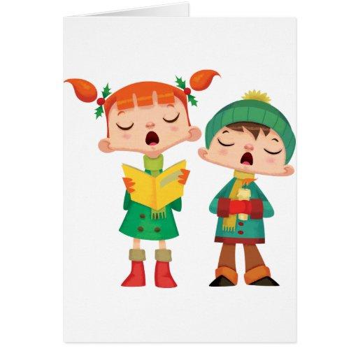 Villancicos del navidad del canto tarjeta de felicitación