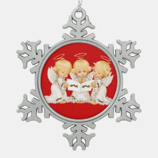 Villancicos dulces del navidad de los ángeles adorno de peltre en forma de copo de nieve