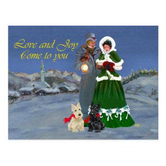 Villancicos escoceses del navidad de los terrieres postales