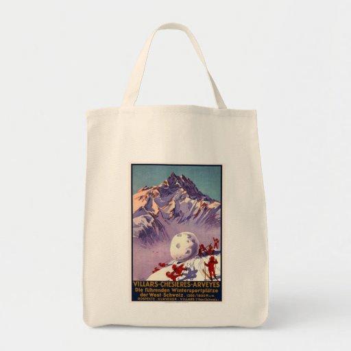 Villars Chesieres Arveyes Grocery Tote Bag