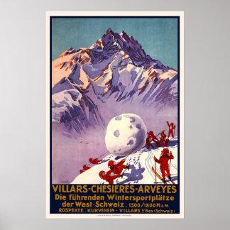 Villars Switzerland Winter Sports Vintage Travel Poster
