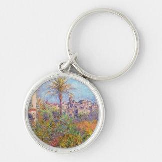 Villas at Bordighera 03 - Claude Monet Silver-Colored Round Keychain