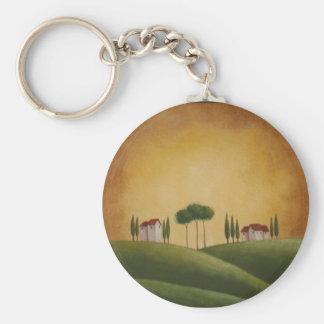 Villas on Tuscan Hills Basic Round Button Keychain