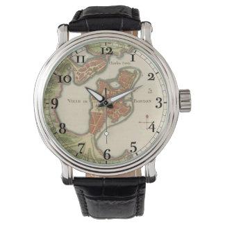 """""""Ville de Boston"""" Mapface antiguo Reloj"""