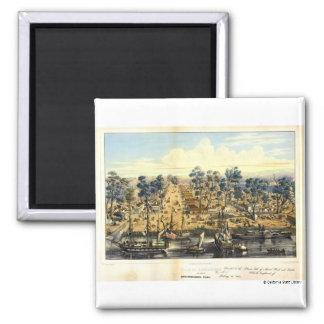 Ville de Sacramento, 1849.  2 Inch Square Magnet