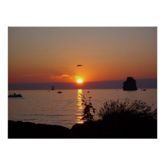 Villeneuve Geneva lake sunset Poster