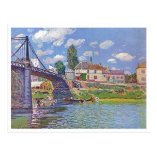Villeneuve-la-Garenne 1872 de Alfred Sisley Brücke Postal