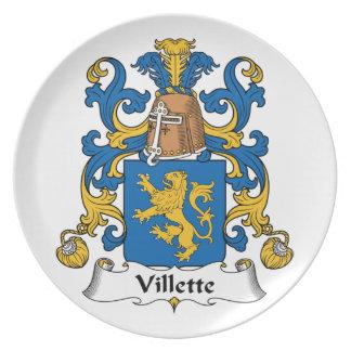 Villette Family Crest Party Plate