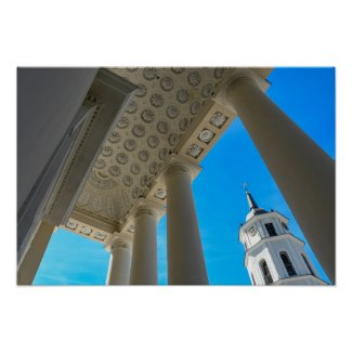 Vilnius Cathedral Ceiling and Clock Tower Poster