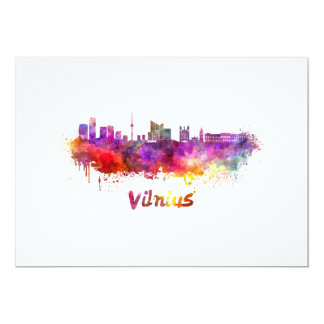 Vilnius skyline in watercolor card