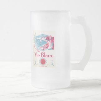 Vin Blanc Wine Vintage Label Frosted Glass Beer Mug