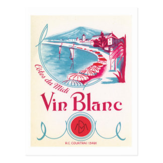 Vin Blanc Wine Vintage Label Postcard