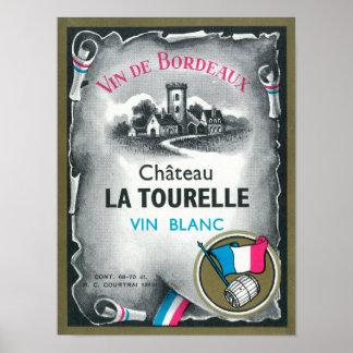 Vin De Bordeaux Wine LabelEurope Póster