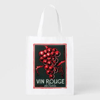 Vin Rouge De Table Wine LabelEurope Grocery Bag