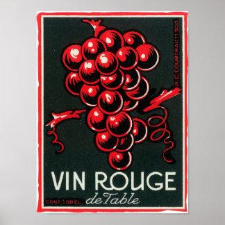 Vin Rouge De Table Wine LabelEurope Poster