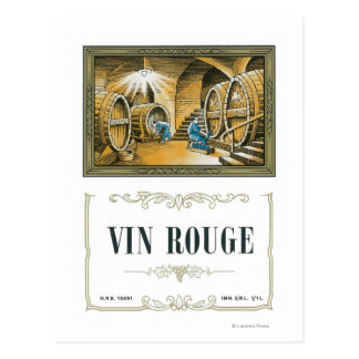 Vin Rouge Wine LabelEurope Post Cards